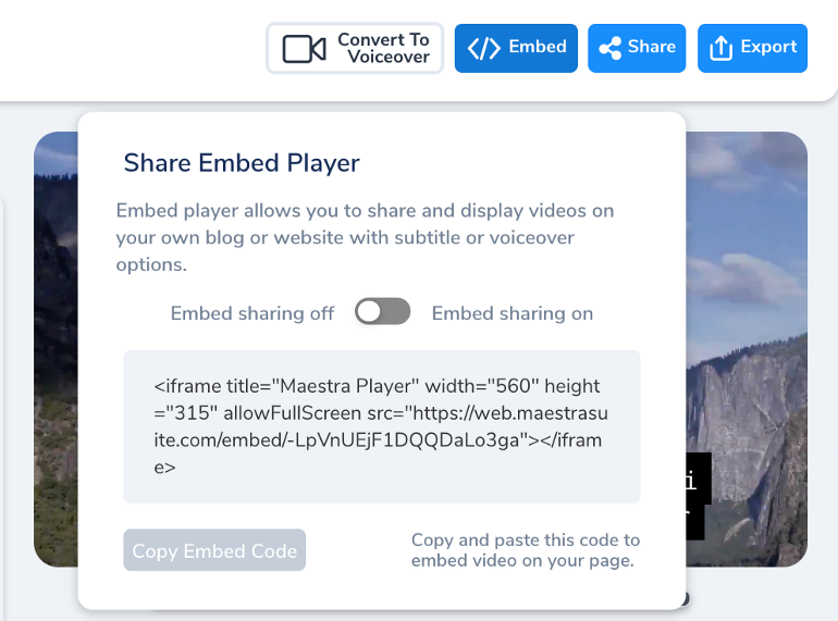 Share Embed Modal